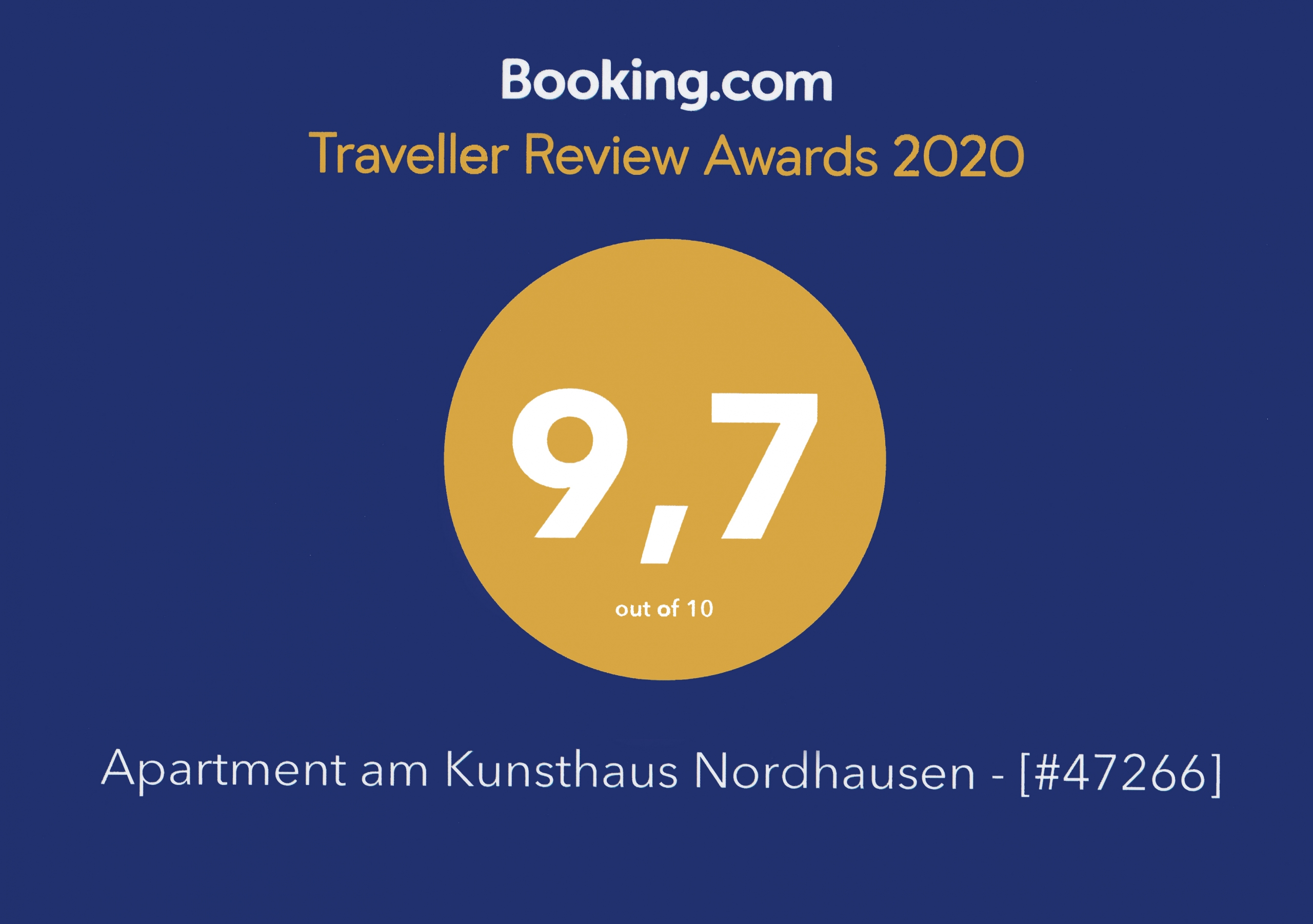 Booking.com Award - Ferienwohnung & Apartment Kunsthaus Nordhausen